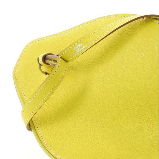 Hermès Leather Wristlet in Yellow Lime