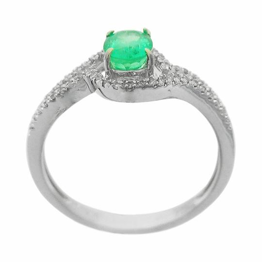 White Gold 0.56ct Emerald and 0.11ctw Diamond 14kt Ring