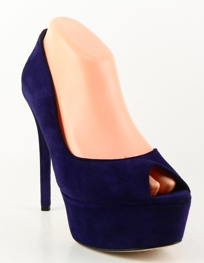 Brian Atwood Open Toe Platform Evening Purple Pumps