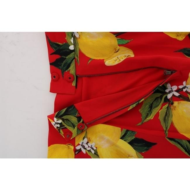 Dolce&Gabbana D1044-1 Women's Red Lemon Print Pleated Skirt Multicolor