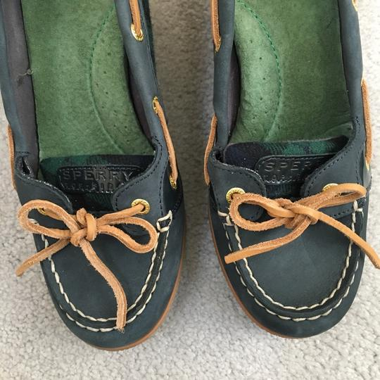 Sperry green, navy and tan Wedges