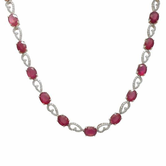Yellow Gold 46.48ctw Ruby and 3.51ctw Diamond 14kt Necklace