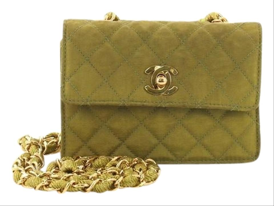6e6b23a3df58f7 Chanel Classic Flap Vintage Cc Chain Quilted Extra Mini Green Canvas ...