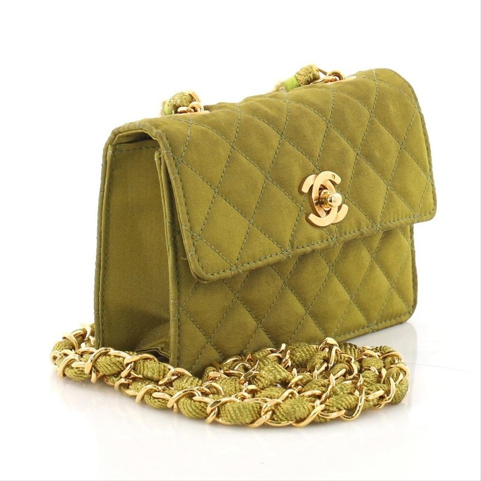 Chanel Classic Flap Vintage Cc Chain Quilted Extra Mini Green Canvas Shoulder  Bag - Tradesy a15d713a116a9