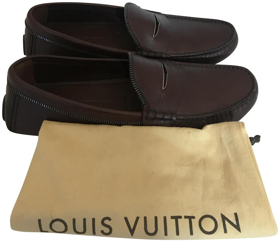 f83ab6b44915 Louis Vuitton Brown 1091218 Lv Zipper Trim Mens Driving Loafers Flats