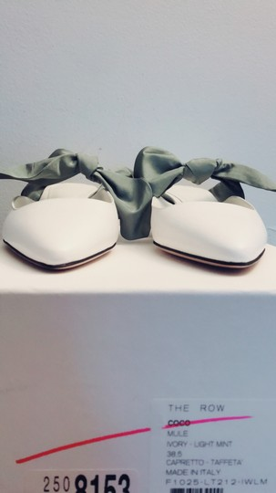 The Row Ivory and light mint Mules