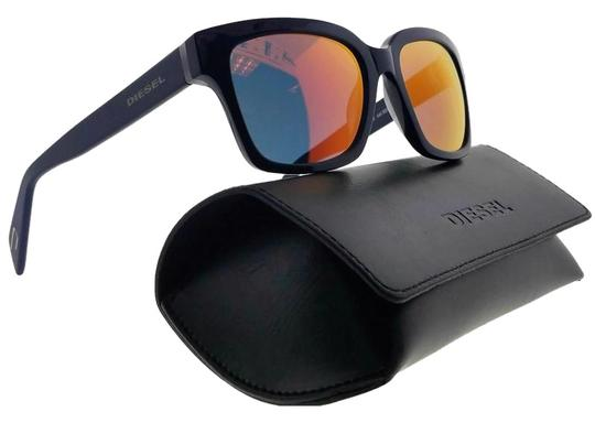 Diesel DL0073-92C-54 Rectangle Unisex Blue Frame Yellow Lens Sunglasses NWT Image 0