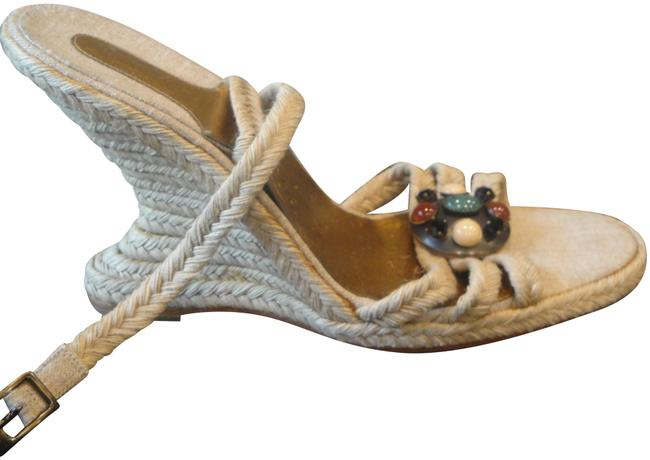 Salvatore Ferragamo Natural Linen Florence Wedges Size US 8.5 Regular (M, B) Salvatore Ferragamo Natural Linen Florence Wedges Size US 8.5 Regular (M, B) Image 1
