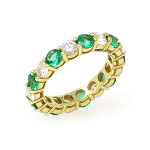 Gavriel's Jewelry Emerald and Diamond Eternity Ring 18KY Gold Shared Prong (2.89 ct)