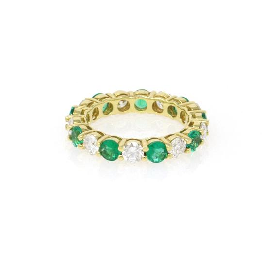 Gavriel's Jewelry Emerald and Diamond Eternity Ring 18KY Gold Shared Prong (2.89 ct) Image 1