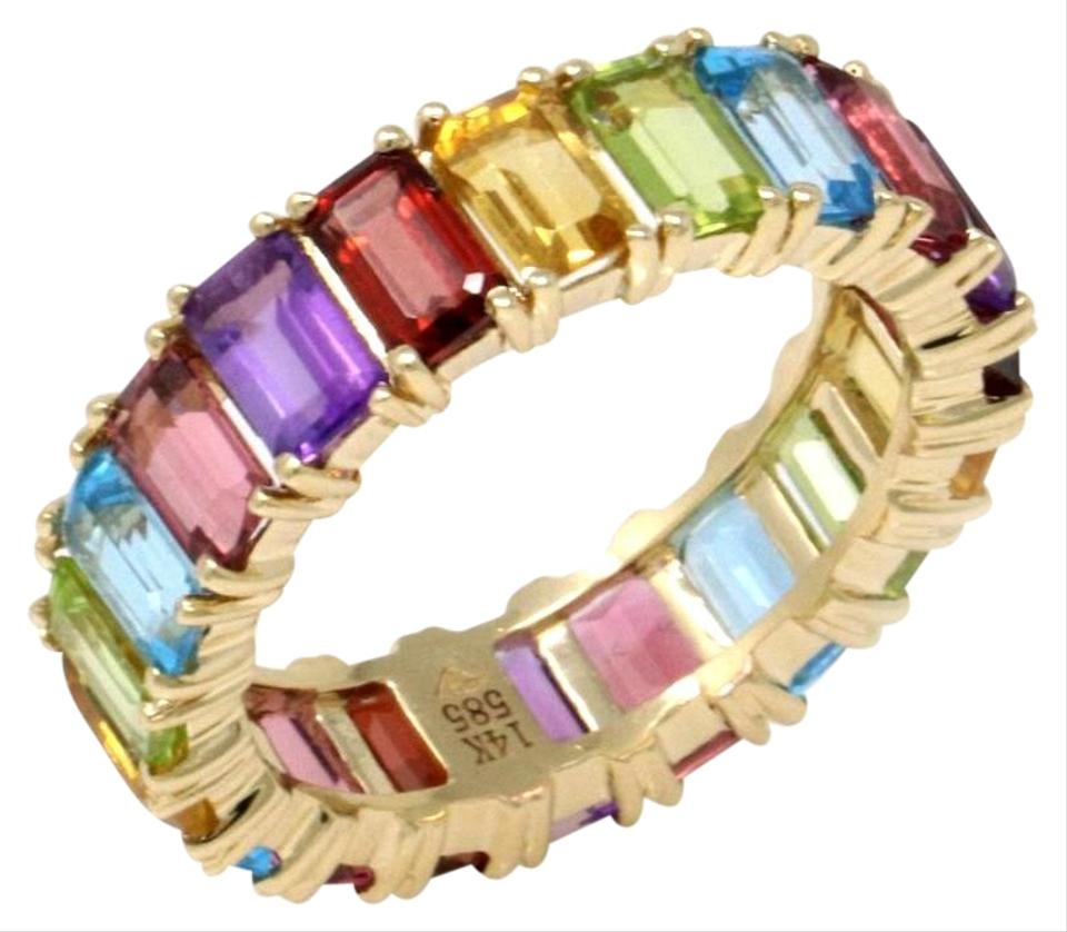Gavriel's Jewelry Multicolor Rainbow Gemstone Eternity Band 14ky Gold (6 44  Ct) Ring 65% off retail