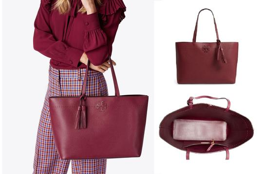 Tory Burch Tote in Imperial Garnet / Port Image 1