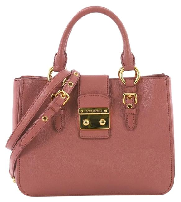 Item - Madras Convertible Small Dark Pink Leather Tote