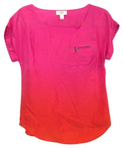 Ann Taylor LOFT Top Fuchsia/Orange