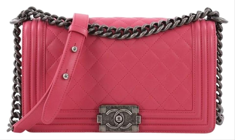 ac8482a2b0b4 Chanel Classic Flap Boy Quilted Old Medium Pink Lambskin Leather Shoulder  Bag