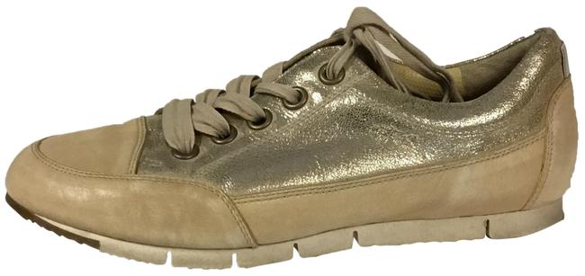 Item - Gold Taupe Handmade Leather Sneakers Flats Size US 8 Regular (M, B)