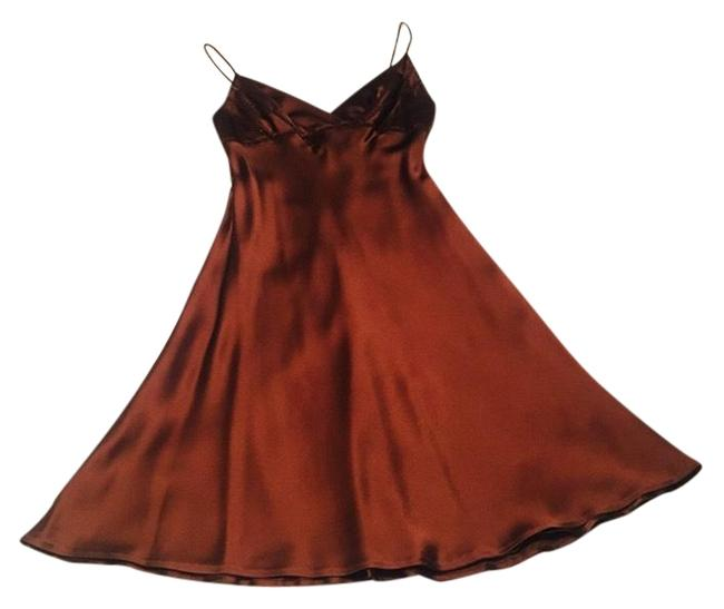Item - Brown Beaded Slip By Mid-length Cocktail Dress Size 4 (S)