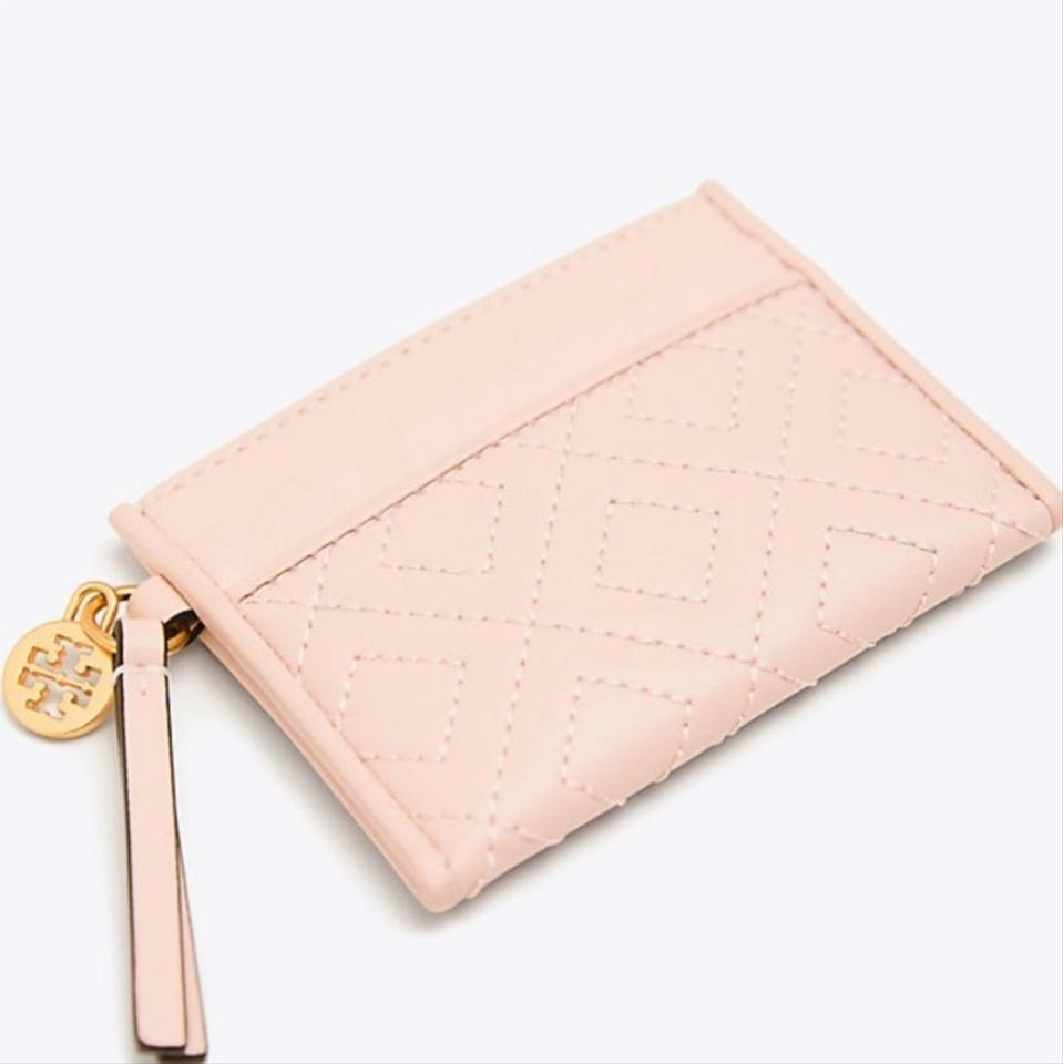 36bc36604a Tory Burch Light Pink/ Gold Quilted Leather Card Case Wallet - Tradesy