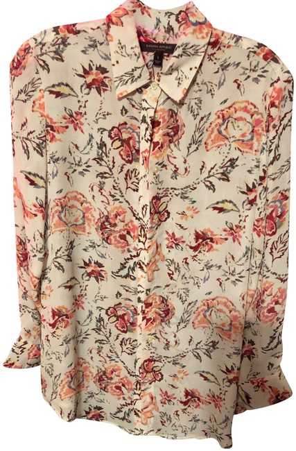 Banana Republic Button-up Warm Colors Top Floral Multi Image 0