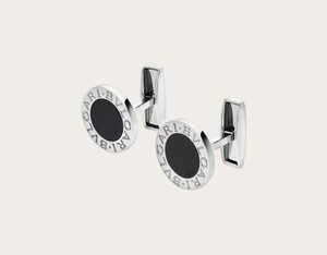 BVLGARI Sterling Silver with Black Onyx And Trademark Logo Cufflinks/Studs