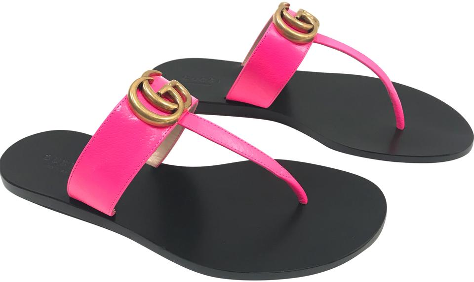 c7db74781389 Gucci Neon Pink Marmont New Leather Thong Sandals Flats Size EU 37 ...