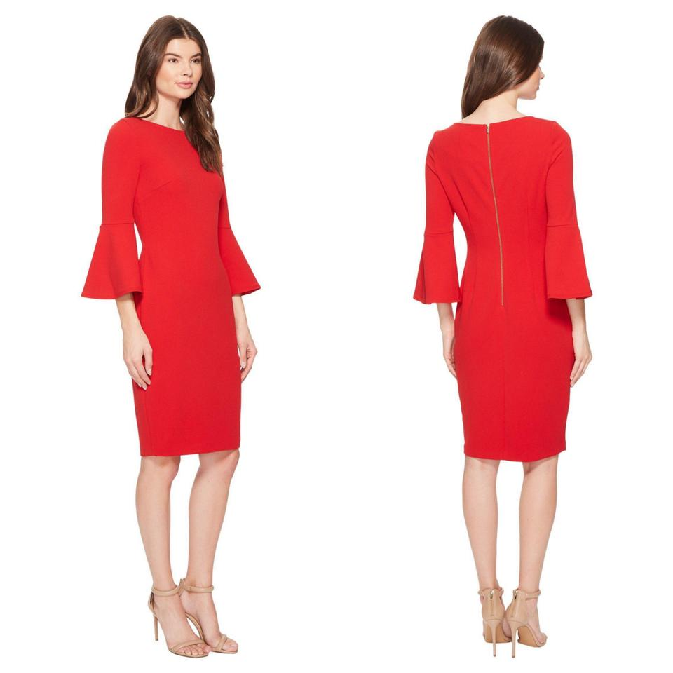 0c6744ef Calvin Klein Red Bell Sleeve Sheath Mid-length Work/Office Dress ...