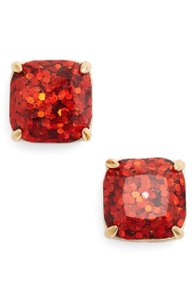 Kate Spade 12K Gold-Plated Red Garnet Epoxy Glitter Square Stud Post