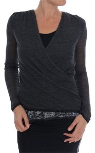Ermanno Scervino Women's Wool Lace Long Sleeved T-shirt D1553-3 T Shirt Gray