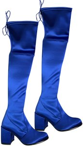 Stuart Weitzman Satin Over The Knee Royal Blue Boots