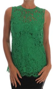 Dolce&Gabbana D1437-2 Women's Floral Lace Top Green