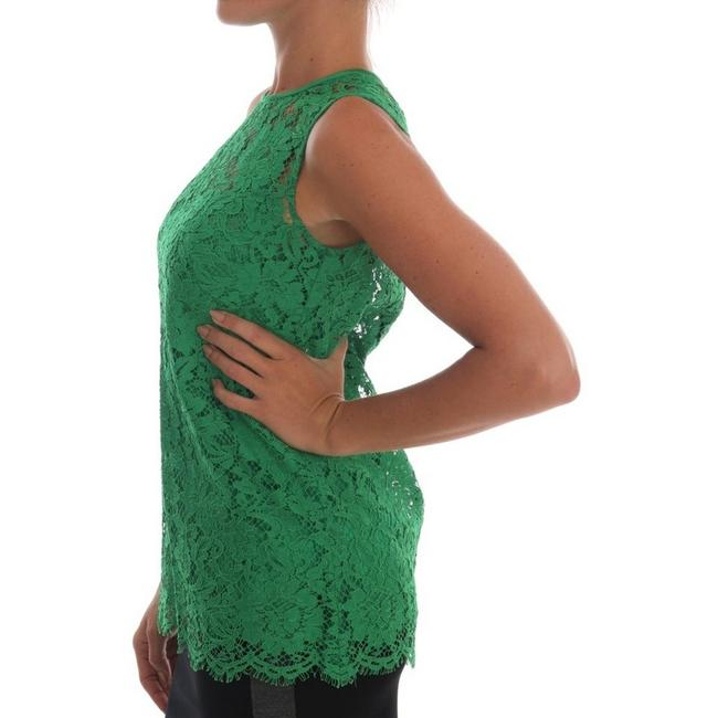 Dolce&Gabbana D1437-2 Women's Floral Lace Top Green Image 1