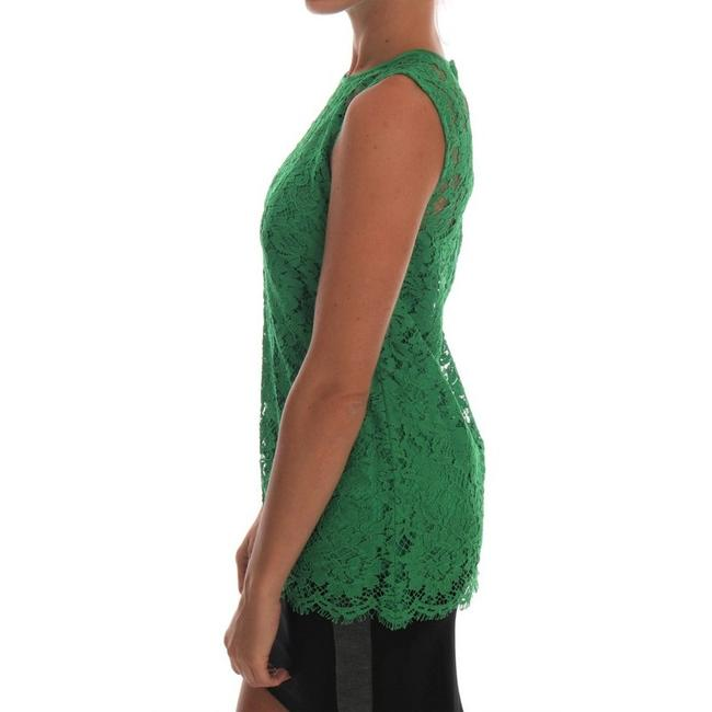 Dolce&Gabbana D1437-2 Women's Floral Lace Top Green Image 2
