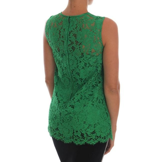Dolce&Gabbana D1437-2 Women's Floral Lace Top Green Image 3