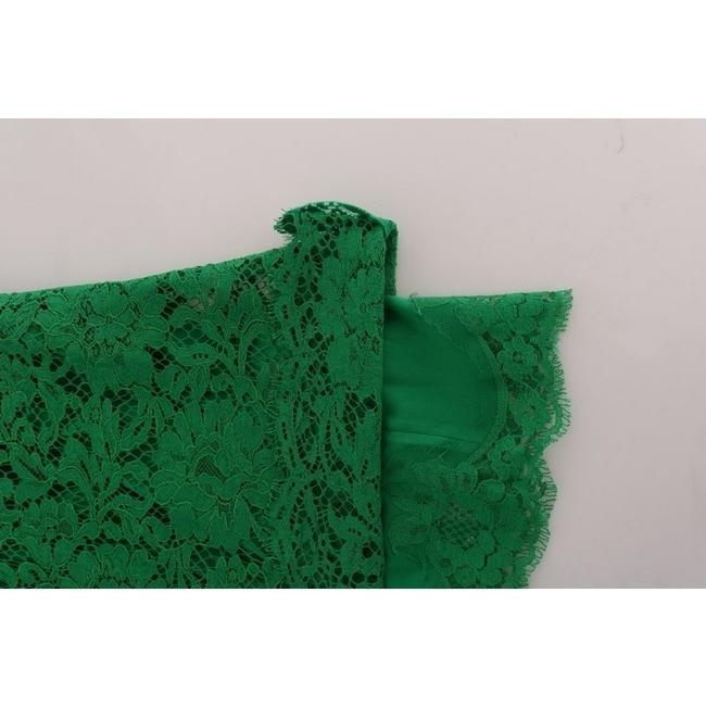 Dolce&Gabbana D1437-2 Women's Floral Lace Top Green Image 4