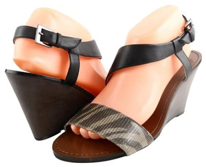 DKNYC Leather Coffee Black Sandals