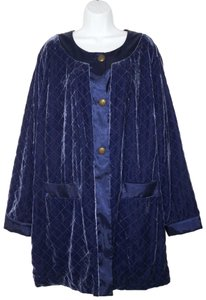 Soft Surroundings Velvet Quilted Silk Rayon Pea Coat