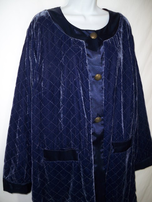 Soft Surroundings Velvet Quilted Silk Rayon Pea Coat Image 2