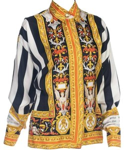 Versace Gianniversace Vintage Top Black, Gold, White, Orange