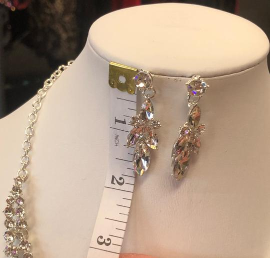 Silver and Crystal Necklace Jewelry Set Image 3