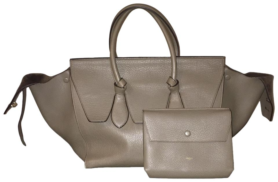 dbb056bf2551 Céline Tie Knot Olive Khaki Shopper Tote Work Travel Green Calfskin Leather  Satchel