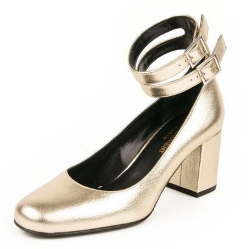 4ae05b024eba Saint Laurent Gold Platin Babies 70 Pumps Size EU 38 (Approx. US 8 ...