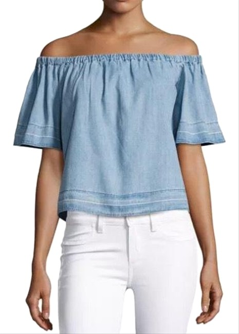 AG Adriano Goldschmied Blue Sylvia Chambray Off The Shoulders Blouse Size 8 (M) AG Adriano Goldschmied Blue Sylvia Chambray Off The Shoulders Blouse Size 8 (M) Image 1