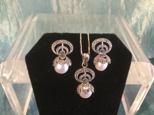 Silver With Pearl+marcsite. Jewelry Set Image 1