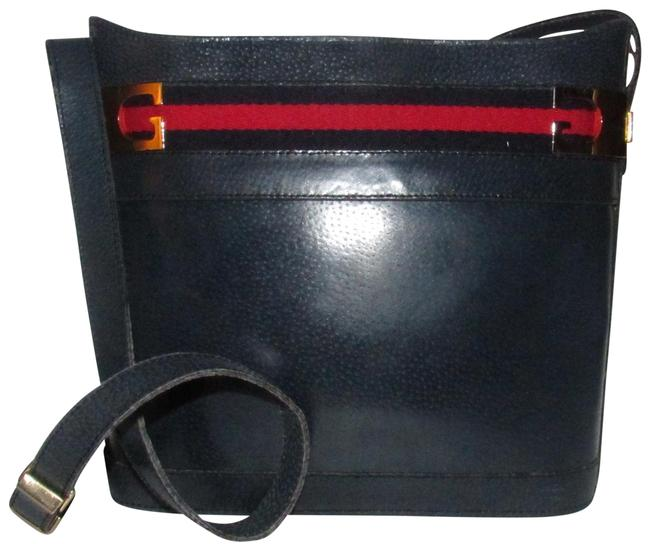 Gucci Bucket Vintage Purses/Designer Purses Navy Blue Leather with A Red and Blue Sherry Striped Accent Shoulder Bag Gucci Bucket Vintage Purses/Designer Purses Navy Blue Leather with A Red and Blue Sherry Striped Accent Shoulder Bag Image 1