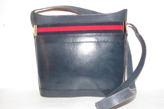 Gucci Early Style Mint Vintage Rare Red/Blue Top Boxy Bucket Shoulder Bag Image 7