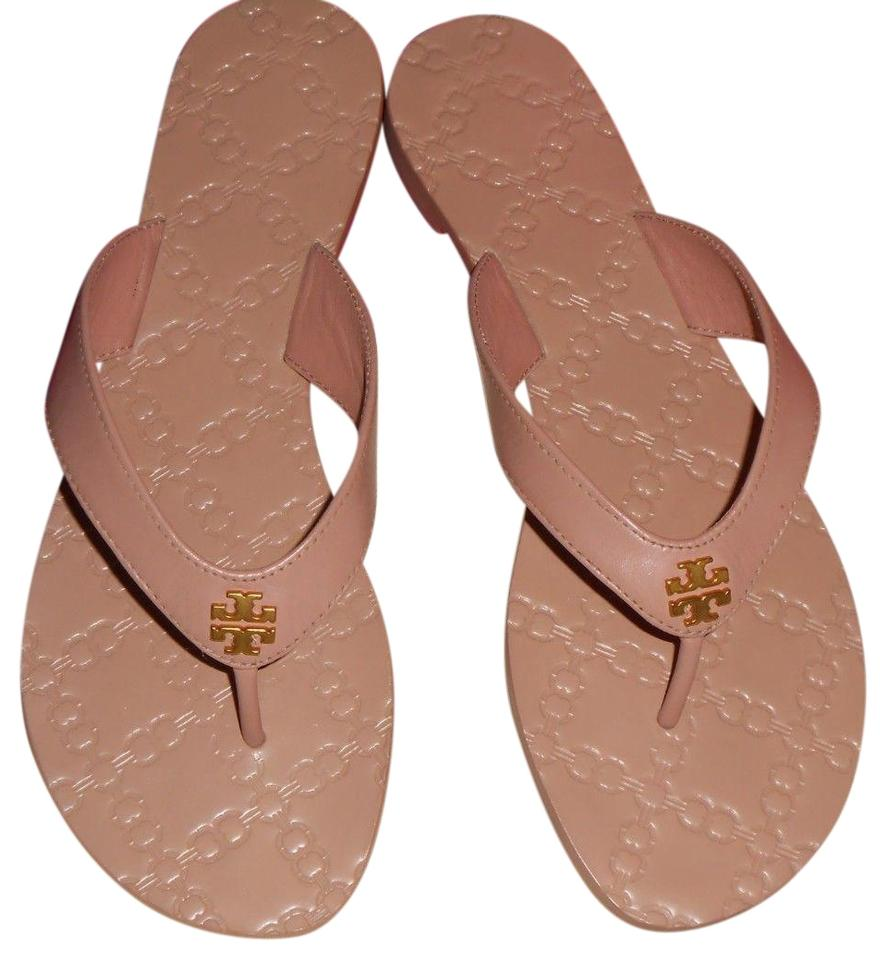 1526c98b0 Tory Burch Nude New Monroe Thong Leather Flip Flops Flop Sandals ...