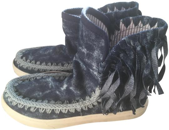 Mou Summer Eskimo Fringed Denim blue with lighter blue stitching and tie dye effects Boots Image 1