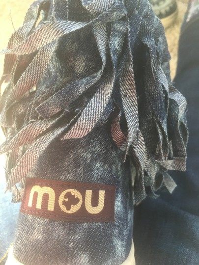 Mou Summer Eskimo Fringed Denim blue with lighter blue stitching and tie dye effects Boots Image 5