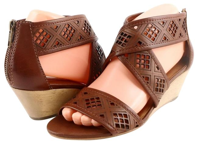 Twelfth St. by Cynthia Vincent Cognac Leah Leather Strappy Wooden Wedge Sandals Size US 9.5 Regular (M, B) Twelfth St. by Cynthia Vincent Cognac Leah Leather Strappy Wooden Wedge Sandals Size US 9.5 Regular (M, B) Image 1