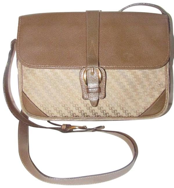 Gucci Vintage Body/Shoulder Purses/Designer Purses Beige Square G Logo Print Canvas and Brown Leather Coated Cross Body Bag Gucci Vintage Body/Shoulder Purses/Designer Purses Beige Square G Logo Print Canvas and Brown Leather Coated Cross Body Bag Image 1